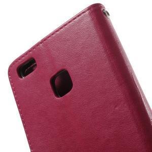 Cloverleaf penženkové pouzdro s kamínky na Huawei P9 Lite - rose - 6