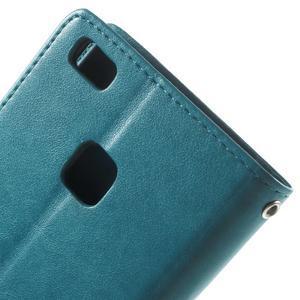 Cloverleaf penženkové pouzdro s kamínky na Huawei P9 Lite - modré - 6