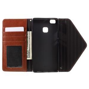 Penženkové pouzdro na mobil Huawei P9 Lite - černé/hnědé - 6
