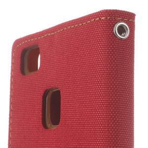 Canvas PU kožené/textilní pouzdro na Huawei P9 Lite - červené - 6