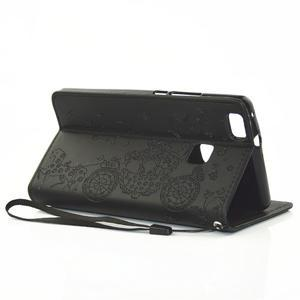 Loves PU kožené pouzdro s kamínky na Huawei P9 Lite - černé - 6