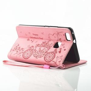 Loves PU kožené pouzdro s kamínky na Huawei P9 Lite - růžové - 6