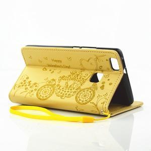 Loves PU kožené pouzdro s kamínky na Huawei P9 Lite - žluté - 6
