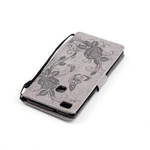Květinoví motýlci peněženkové pouzdro na Huawei P9 Lite - šedé - 6