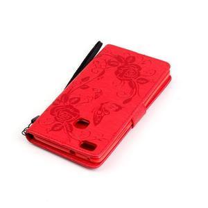 Květinoví motýlci peněženkové pouzdro na Huawei P9 Lite - červené - 6