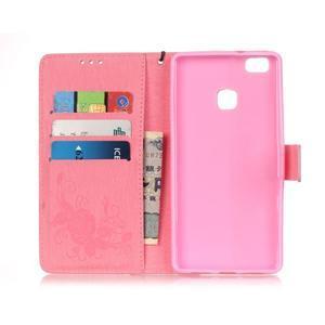 Kvetinové motýle peňaženkové puzdro na Huawei P9 Lite - ružové - 6