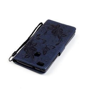Kvetinové motýle peňaženkové puzdro na Huawei P9 Lite - tmavomodré - 6