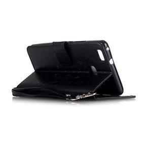 Dream PU kožené pouzdro s kamínky na Huawei P9 Lite - černé - 6