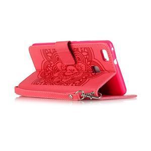 Dream PU kožené pouzdro s kamínky na Huawei P9 Lite - červené - 6