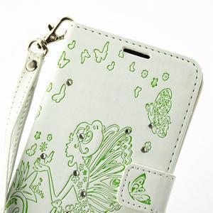 Víla PU kožené puzdro s kamienkami na Huawei P9 Lite - biele/zelené - 6