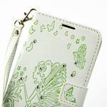 Víla PU kožené pouzdro s kamínky na Huawei P9 Lite - bílé/zelené - 6/7
