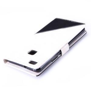 Duocolory PU kožené pouzdro na Huawei P9 Lite - bílé/černé - 6
