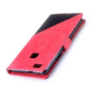 Duocolory PU kožené pouzdro na Huawei P9 Lite - červené/černé - 6