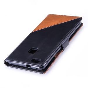 Duocolory PU kožené pouzdro na Huawei P9 Lite - černé/hnědé - 6