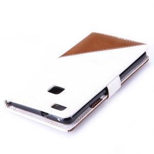 Duocolory PU kožené puzdro na Huawei P9 Lite - biele/hnedé - 6
