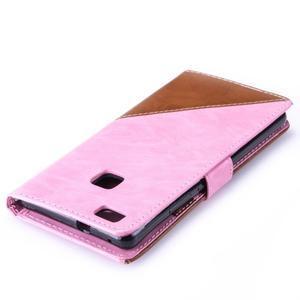 Duocolory PU kožené pouzdro na Huawei P9 Lite - růžové/hnědé - 6