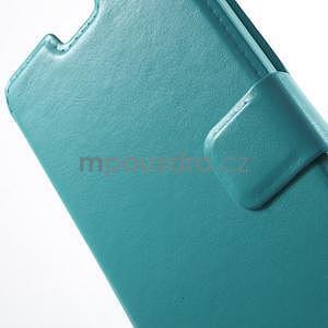 Tyrkysové kožené puzdro na Huawei Y635 - 6