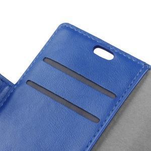 Knížkové PU kožené puzdro pre Lenovo Vibe K5 / K5 Plus - modré - 6