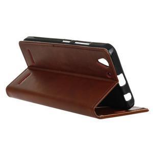 Knížkové PU kožené puzdro pre Lenovo Vibe K5 / K5 Plus - hnedé - 6