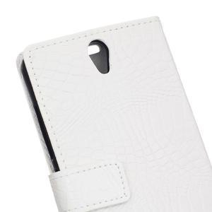 Croco PU kožené pouzdro na mobil Lenovo Vibe S1 - bílé - 6