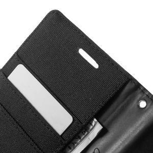Canvas textilní/PU kožené puzdro na Asus Zenfone 2 Laser - čierné - 6