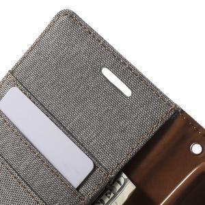 Canvas textilné/PU kožené puzdro pre Asus Zenfone 2 Laser - šedé - 6