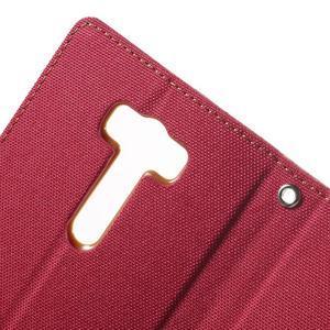 Canvas textilní/PU kožené puzdro na Asus Zenfone 2 Laser - červené - 6