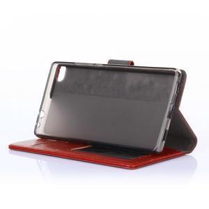 Koženkové puzdro na mobil Huawei Ascend P8 - hnedé - 6