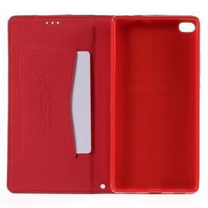 Style peňaženkové puzdro na Huawei Ascend P8 - červené - 6