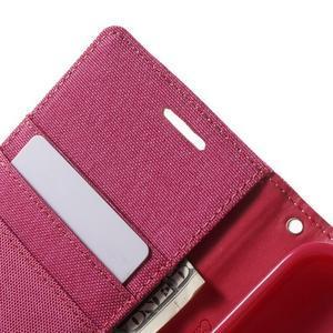 Canvas textilní/PU kožené puzdro na Asus Zenfone 2 Laser - rose - 6