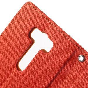Canvas textilní/PU kožené puzdro na Asus Zenfone 2 Laser - oranžové - 6
