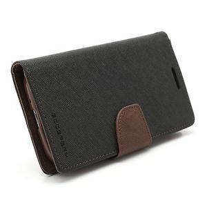 Fancy peňaženkové puzdro na Samsung Galaxy S4 - čierné/hnedé - 6