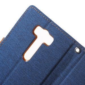 Canvas textilní/PU kožené puzdro na Asus Zenfone 2 Laser - modré - 6