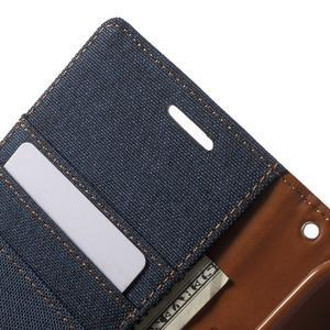 Canvas textilní/PU kožené puzdro na Asus Zenfone 2 Laser - tmavo modré - 6