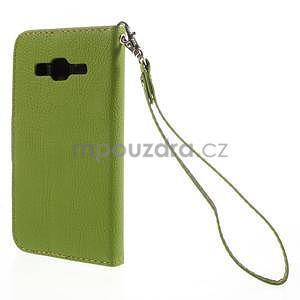 Zelené/hnedé peňaženkové puzdro pre Samsung Galaxy Core Prime - 6
