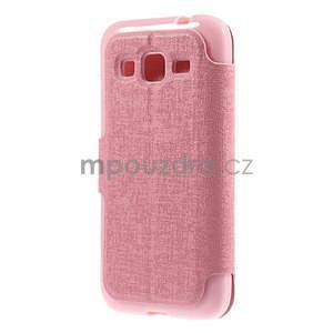 Zapínací peňaženkové puzdro pre Samsung Galaxy Core Prime - ružové - 6