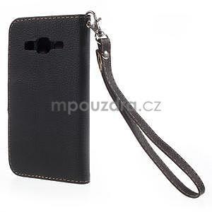 Černé/hnedé peňaženkové puzdro pre Samsung Galaxy Core Prime - 6
