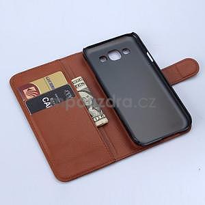 Kožené peňaženkové puzdro na Samsung Galaxy E5 - hnedé - 6