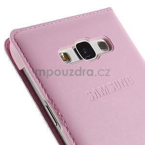 Kožené peňaženkové puzdro s okienkom - ružové - 6