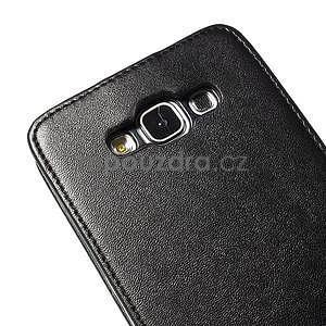 Čierné flipové kožené puzdro pre Samsung Galaxy E7 - 6