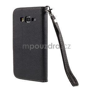 Čierné/hnedé zapínací peňaženkové puzdro na Samsung Galaxy Grand Prime - 6