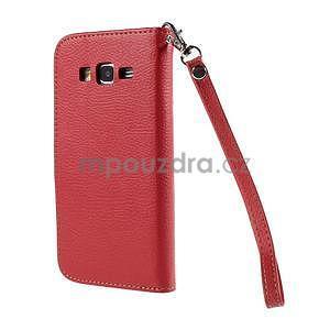 Červené/hnedé zapínací peňaženkové puzdro na Samsung Galaxy Grand Prime - 6