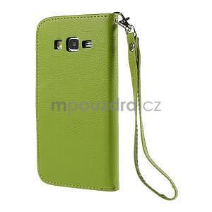Zelené/hnedé zapínací peňaženkové puzdro na Samsung Galaxy Grand Prime - 6