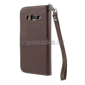 Hnedé/zelené zapínací peňaženkové puzdro pre Samsung Galaxy Grand Prime - 6