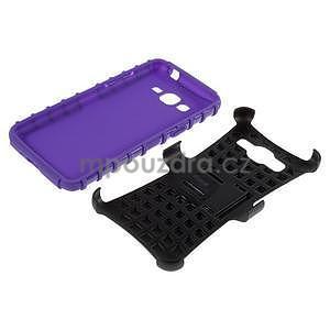 Vysoce odolný kryt so stojanom pre Samsung Galaxy Grand Prime - fialový - 6