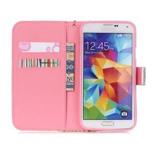Knížkové PU kožené puzdro pre Samsung Galaxy S5 - buldog - 6