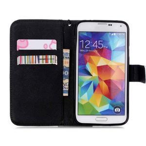 Knížkové PU kožené puzdro pre Samsung Galaxy S5 - lebka - 6