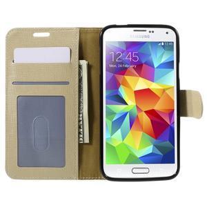 Clothy Pu kožené puzdro pre Samsung Galaxy S5 - champagne - 6