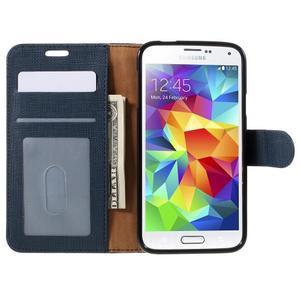 Clothy Pu kožené pouzdro na Samsung Galaxy S5 - tmavěmodré - 6