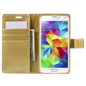 Bluemoon PU kožené pouzdro na Samsung Galaxy S5 - zlaté - 6